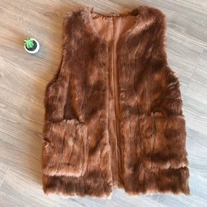 Zara brown fluffy teddy vest fur jacket XS